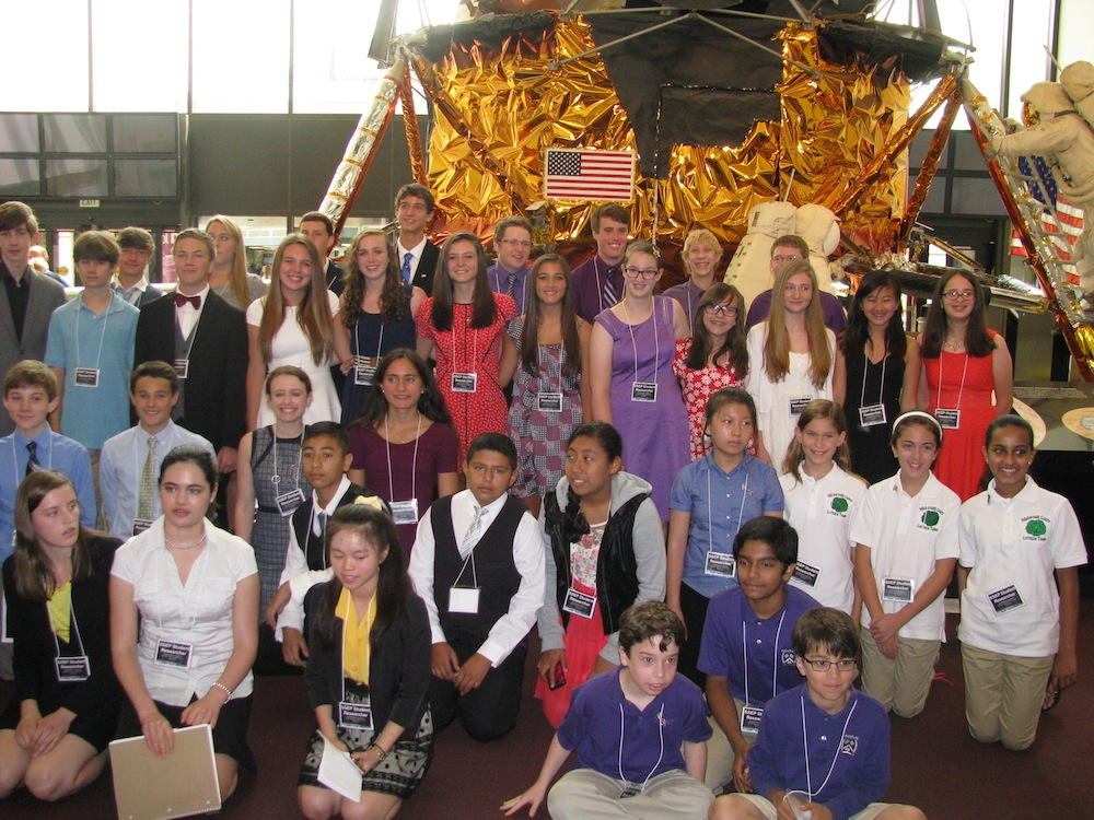 Group shot in front of Lunar Module of the SSEP student researcher delegates that presented on the second day of the 2014 SSEP National Conference, Smithsonian National Air and Space Museum, July 3, 2014.