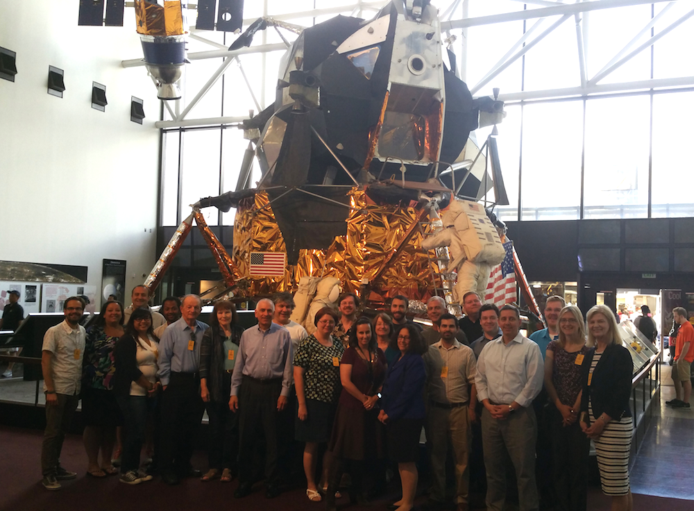 The SSEP Mission 8 to ISS Step 2 Review Board takes a break for a group shot in front of the Apollo Lunar Module at the Smithsonian National Air and Space Museum, May 19, 2015. CLICK ON PHOTO TO ZOOM
