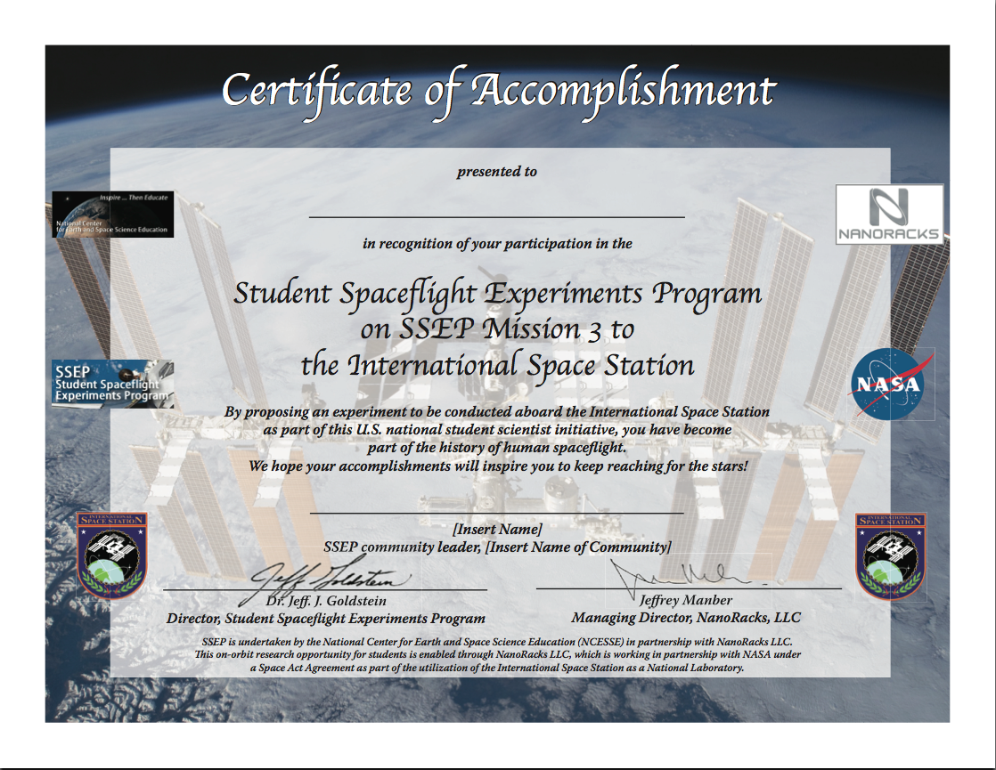Ssep Mission 3 To Iss Student Certificates Of Accomplishment Ssep