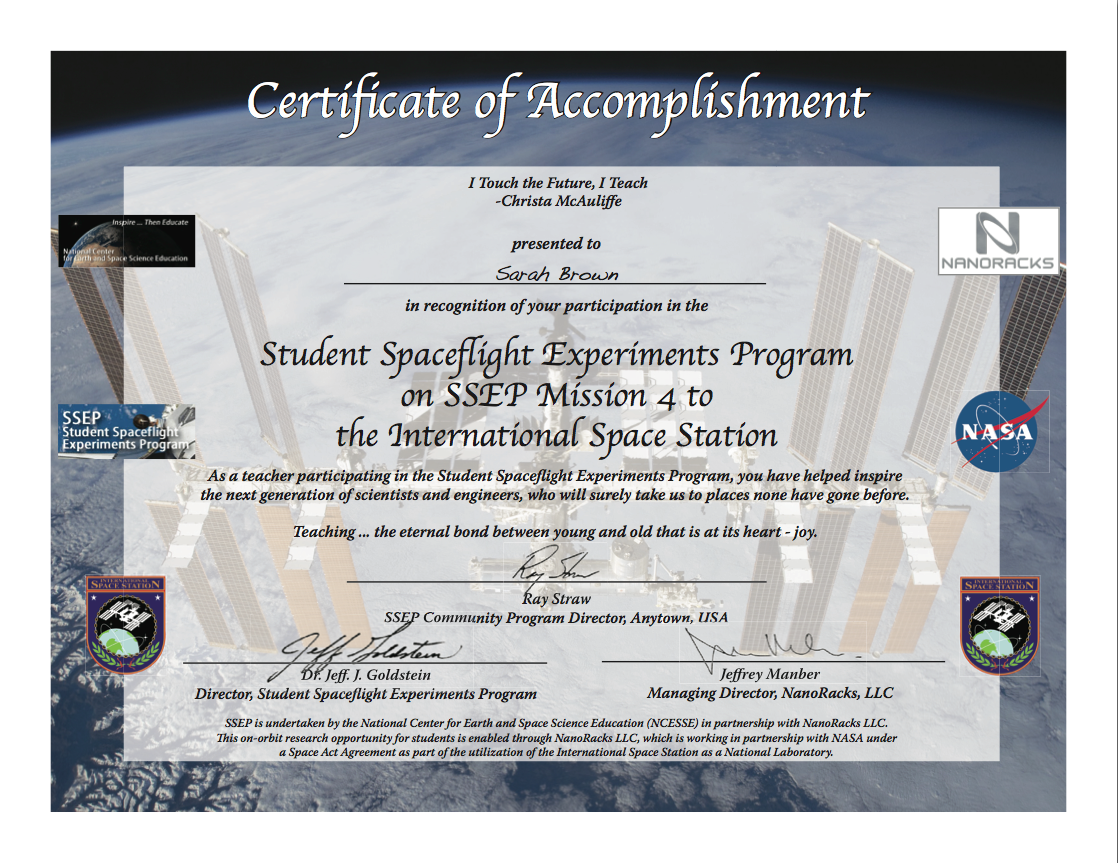Also Now Available – SSEP Mission 4 to ISS Certificates of ...