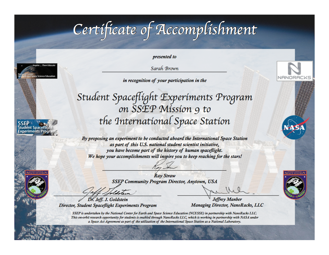 Ssep Mission 9 To Iss Student Certificates Of Accomplishment Ssep