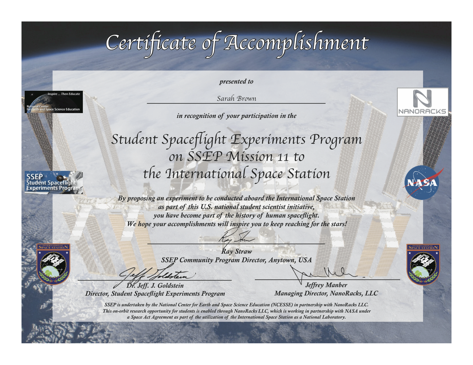 Ssep Mission 11 To Iss Student Certificates Of Accomplishment Ssep
